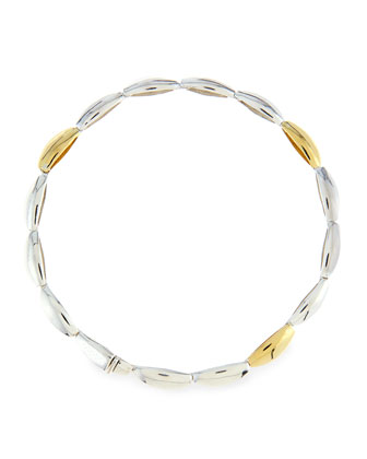 Single Silver & 18k Gold Marquise Bracelet