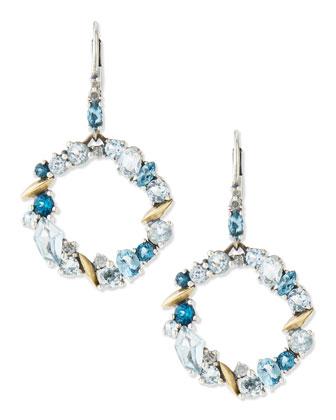 Midnight Marquise Circle-Drop Earrings, Blue