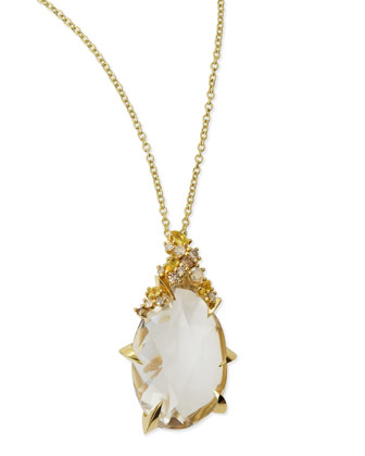 18k Golden Ice Clear Quartz Teardrop Necklace