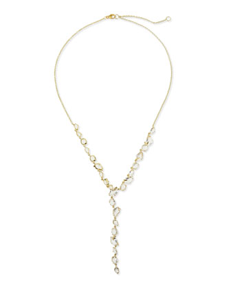 18k Golden Ice Clear Quartz Y-Drop Necklace