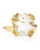 18k Gold Diamond-Prong Ice Quartz Ring