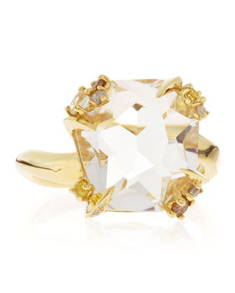 18k Gold Diamond-Prong Ice Quartz Ring