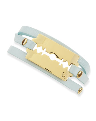 Shiny Razor-Blade Wrap Bracelet, Light Green