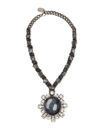 Woven Chain Cabochon & Crystal Pendant Necklace