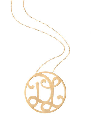 Medium 2-Initial Necklace, Yellow Gold