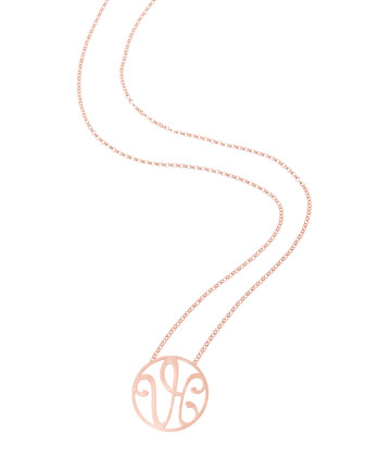 Small 2-Initial Monogram Necklace, Rose Gold, 18