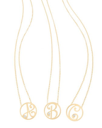 Mini Single Initial Diamond Necklace, Yellow Gold, 18