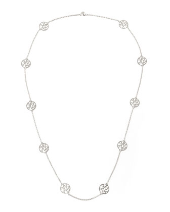 2-Initial Monogram Station Necklace, Rhodium Silver, 34