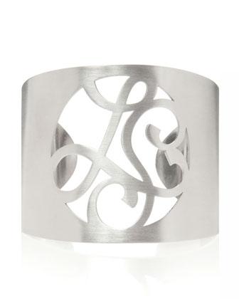 2-Initial Monogram Cuff Bracelet, Rhodium Silver