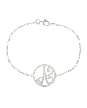 Mini Single Initial Diamond Bracelet, Rhodium Silver
