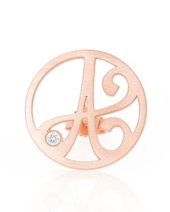 Right Singular Mini One-Initial Diamond Stud Earring, Rose Gold