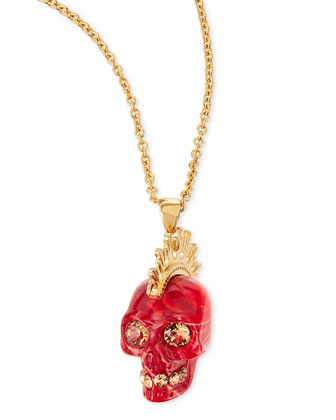Plexi Punk Skull Pendant Necklace, Red/Golden