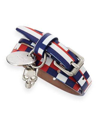 Printed Leather Wrap Bracelet, Red/White/Blue