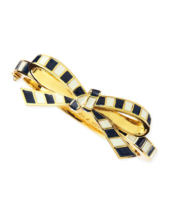 finishing touch striped bow bangle, black/white