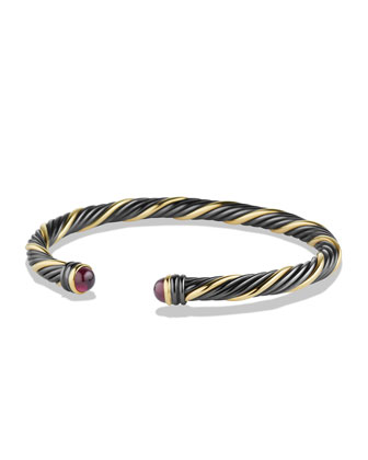 Black & Gold Cable Bracelet with Rhodolite Garnet