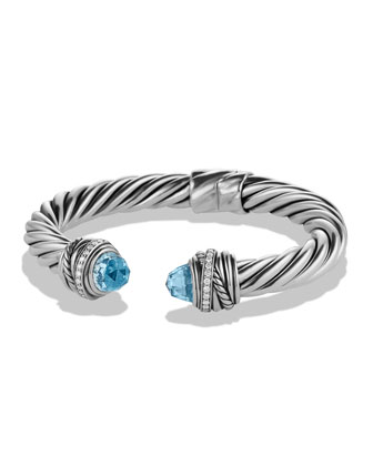 Crossover Bracelet with Blue Topaz and Diamonds