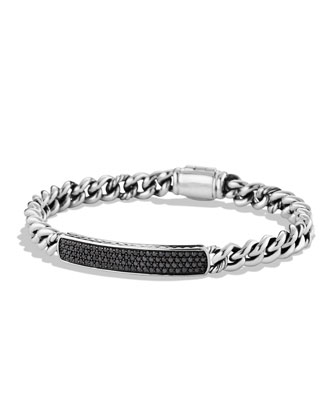 Petite Pav?? ID Bracelet with Black Diamonds