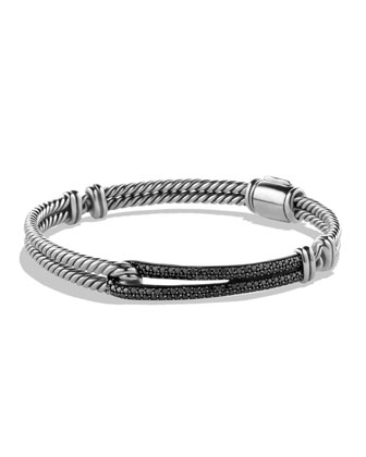 Petite Pav?? Labyrinth Single-Loop Bracelet with Black Diamonds