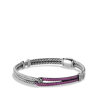 Petite Pav?? Labyrinth Single-Loop Bracelet with Pink Sapphires