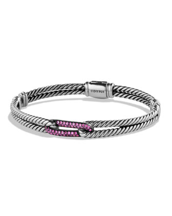 Petite Pav?? Labyrinth Mini Single-Loop Bracelet with Pink Sapphires