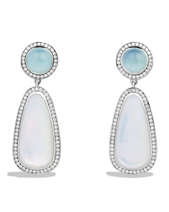 Color Classics Double Drop, Earrings with Moon Quartz, Aquamarine and Diamonds