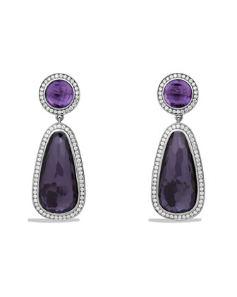 Color Classics Double Drop, Earrings with Black Orchid, Amethyst and Diamonds