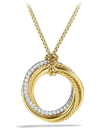 Crossover Pendant with Diamonds in Gold