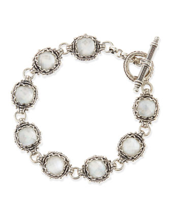 Small Aura Silver & Mother-of-Pearl Cushion Bracelet