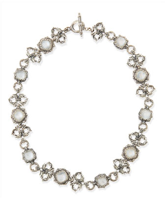 Aura Silver Scroll & Mother-of-Pearl Station Necklace