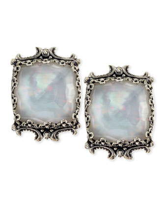 Aura Silver & Mother-of-Pearl Cushion Earrings