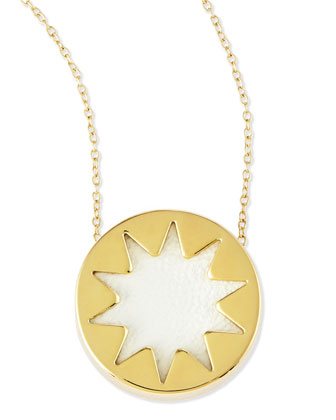 Mini Sunburst Pendant Necklace, White