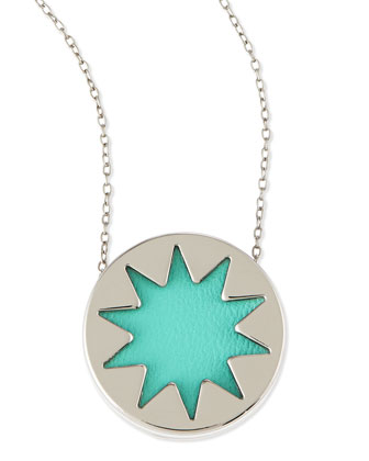 Mini Sunburst Pendant Necklace, Robin's Egg Blue (Stylist Pick!)