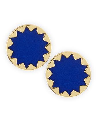 Sunburst Button Stud Earrings, Cobalt