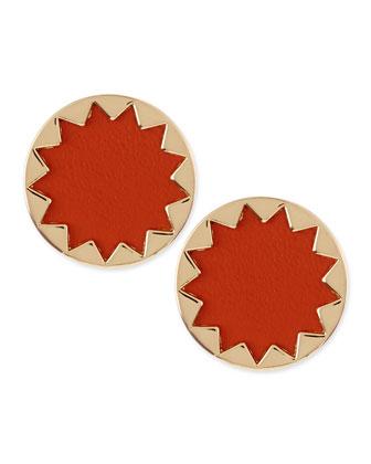 Sunburst Button Stud Earrings, Coral