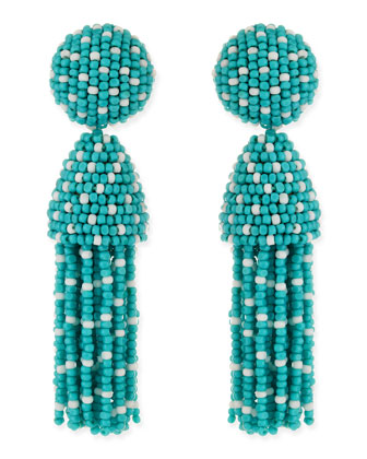 Short Dotted Beaded Tassel Clip-On Earrings, Aqua