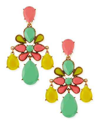 Leafy Chandelier Clip-On Earrings, Aqua Sorbet