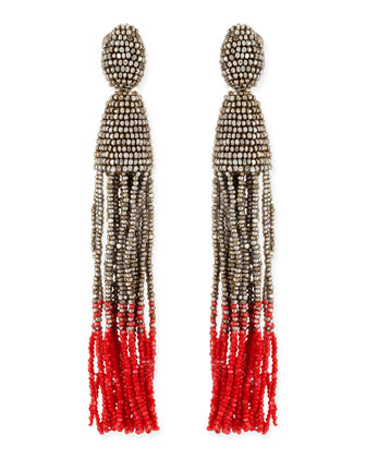Long Ombre Bead Tassel Clip-On Earrings, Silver/Pink
