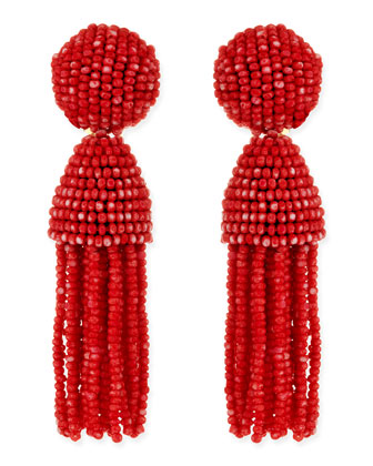Short Beaded Tassel Clip-On Earrings, Clementine