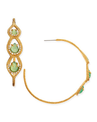Maldivian Golden Hoop Earrings with Chrysoprase Chalcedony
