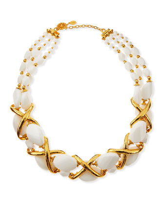 24k Gold Plate Braid & White Beaded Collar Necklace