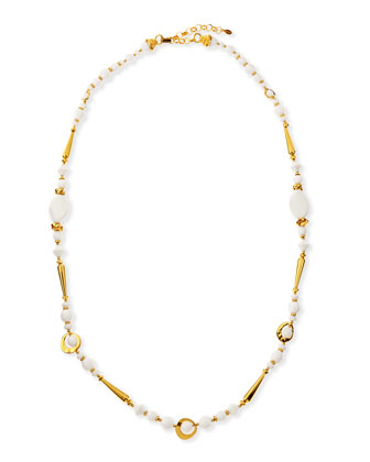 Long 24k Gold Plate & White Bead Necklace