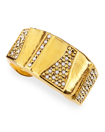 24k Gold Plate Pave Hammered Cuff
