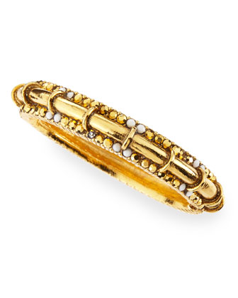 Golden/White Pave Crystal Gold-Plate Bangle