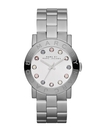 Amy Matte Stainless Steel Watch with Crystals