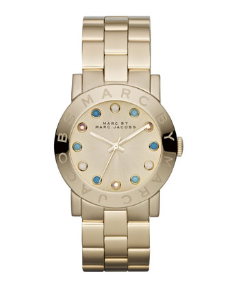 Amy Matte Yellow Golden Watch with Crystals