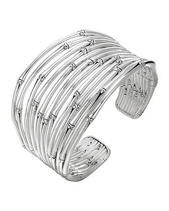 Bamboo Silver Wide Flex Cuff