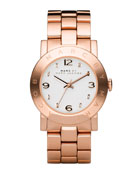 Amy Crystal Analog Watch with Bracelet, Rose Golden
