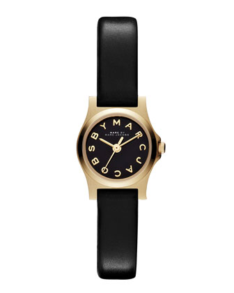 Henry Dinky Analog Watch with Leather Strap, Golden/Black