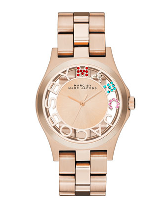 Henry Skeleton Crystal Watch, Rose Golden