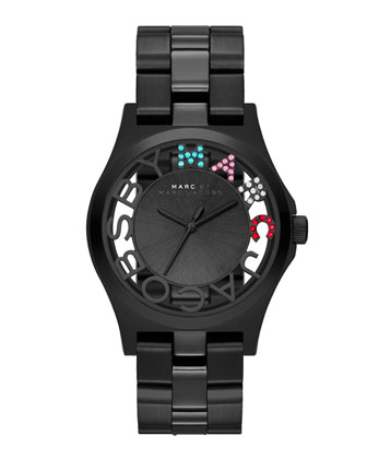 Henry Skeleton Crystal Watch, Black
